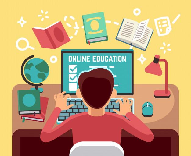 Niño de escuela niño estudiando delante de la computadora vector gratuito